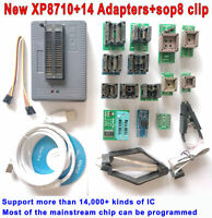 XP8710 USB Programmer Nand Flash 24 93 25 MCU Bios EPROM AVR Chip +14 adapter