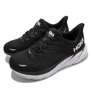 Hoka One One Clifton 8 D Wide Black White Women Road Running Shoes 112137-BWHT
