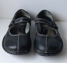 BORN Black Leather Mary Jane Comfort Shoe Women's Size 7 Top Stitching Velcro