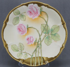 Bawo & Dotter Limoges Hand Colored Pink Rose & Gilt Charger Circa 1900 - 1914