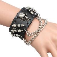 Black Skull Skeleton Men Bracelet Punk Rock Leather Wristband Gothic Bangle