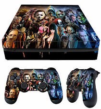 PS4 Slim Skin Horror Montage 01 Evil Villains + Pad Decals Vinyl New LAY FLAT