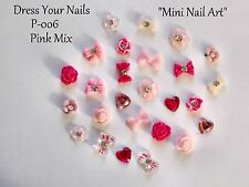 "24*3d PINK Nail Art"" MINI Bow Flowers  Hearts Pearls Crafts Cards Wedding- P-006"