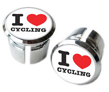 I Love Cycling Bicycle Handlebar Chrome Plastic Bar End Plugs, Caps
