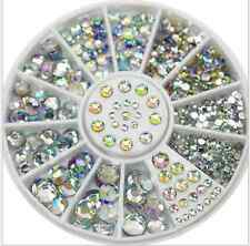 200 Pcs 3D Acrylic Nail Art Tips Gems Crystal Rhinestones DIY Decoration Wheel