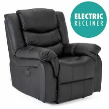 SEATTLE ELECTRIC BLACK LEATHER AUTO RECLINER ARMCHAIR SOFA HOME LOUNGE CHAIR