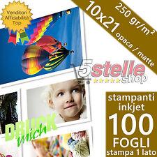 100 FOGLI CARTA FOTOGRAFICA 10X21 FOTO MATTE OPACA 250 GR. PER STAMPANTI INKJET
