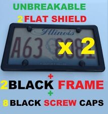 2 UNBREAKABLE FLAT SMOKE LICENSE PLATE SHIELD COVERS + 2 BLACK FRAMES + 8 CAPS