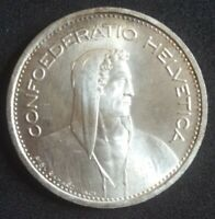 1953 SWITZERLAND SILVER 5 FRANCS UNC KM# 40 William Tell Uncirculated