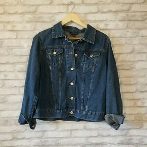 Womens Maternity Denim Jean Jacket Classic Blue Jean Button Long Sleeves Medium