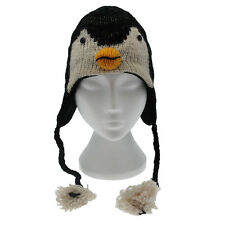 Fun Penguin Handmade Winter Woollen Animal Hat Fleece Lining One Size, UNISEX
