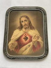 Antique Wood Art Deco Picture Frame W Sacred Heart Jesus Print