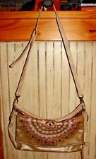 DESIGUAL GORGEOUS FOLD OVER HANDBAG/POCKET BOOK BEIGE WITH GOLD TRIM