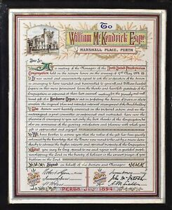 1897 Nicoll Presentation Folio w/ Illuminated Document to W. McKendrick Scotland