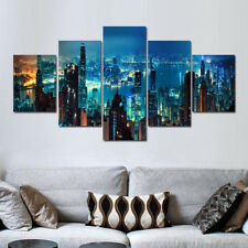 Canvas Wall Art Painting Blue 5 Panels City View Night Light Building Giclee Art