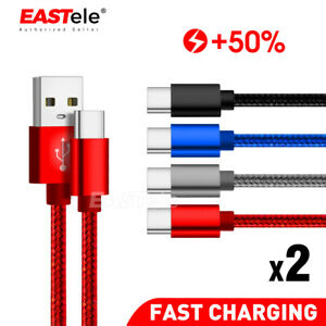 2x USB Type C Fast Charging Charger Cable For Samsung S9 S10 S20 S21 Ultra USB-C