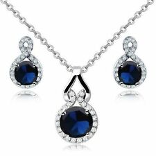 Charming 18K White Gold GP Sapphire Swarovski Crystals CZ Set Necklace Earrings