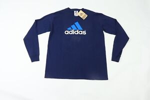 NOS Vintage 90s Adidas Mens Small Spell Out Soccer Long Sleeve T Shirt Navy Blue