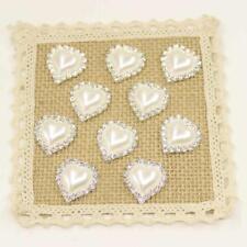 10pcs Flatback Pearl Peach Heart Embellishment Button for Scrapbooking White