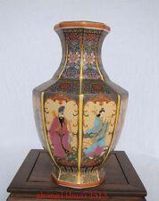 Antique Handmade Painting Cloisonne Porcelain Vase 8 God W YongZheng Mark