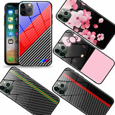 For iPhone XR 11 Pro Max 78Plus Case Carbon Fiber Slim Tempered Glass Back Cover