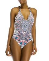 NWT RED CARTER S plunging halter one-piece swimsuit ocean lattice work maillot