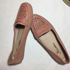 Women's Pink Leather Loafers Flats size 8.5 Weave Slip Size 8.5 Shoes