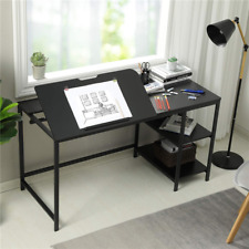 Used Drawing Table w/ Adjustable Tiltable Tabletop Large Computer Writing Desk