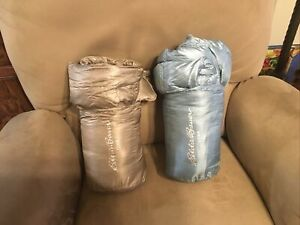 """Choose One E.  Bauer Packable Down Travel Throw, 700 Fill, 50x60"""", Taupe/Turq."""