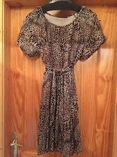 Kurt Muller Animal Print Pleated Dress Full Swingy Style Belt Size 10 Brown Grey