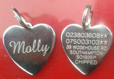 Engraved Pet Tag ID Disc Collar Tags Cat Dog Puppy Metal Silver Heart