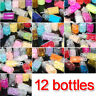 12 Bottle Set Glitter Nail Art Powder Tips Rhinestone Decoration Manicure Hot XN