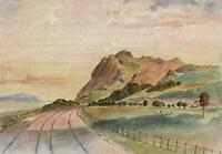 RAILWAY LLANDUDNO TO PENMAENMAWR WALES Watercolour Painting 19TH CENTURY