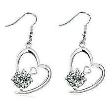 orecchini a forma di cuore pendenti Strass Cristalli prezioso classico NUOVO