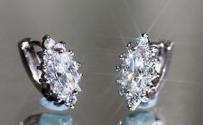 Sparkling Created Marquise & Brilliant Diamond  1.0cm Earring / Hoops