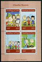 Chad 2019 MNH Charlie Brown Peanuts Snoopy 4v M/S Cartoons Comics Stamps