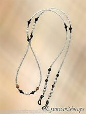 """NEW Long 30"""" Clear, White, Black & Brown Beaded Glasses / Sunglasses Chain Strap"""