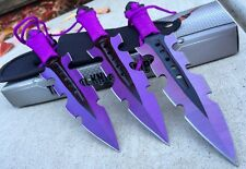 "3Pc 7.5"" Ninja Throwing Knife Tactical Combat PURPL Kunai  Set w/Sheath Hunting"