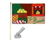 New listing 5' Wood Flag Pole Kit Nylon White Bracket 3x5 Tis The Season Presents Poly Flag