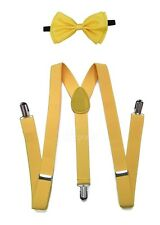 Yellow Suspender and Bow Tie for Adults Teenagers Women Men