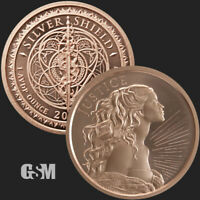 1oz Justice .999 Copper Round Silver Shield Freedom Justice Beautiful Shine