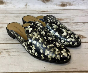 LUCKY BRAND Cristley2 Black Floral Loafer Slide Mules Leather Upper 12M / 42