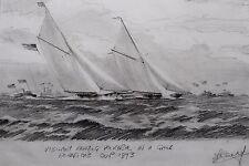 STEPHEN J RENARD ORIGINAL DRAWING AMERICA'S CUP 1893, RACING YACHTS AT SEA