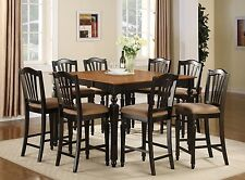 Chelsea 9pc set counter height table + 8 microfiber padded chairs black & cherry