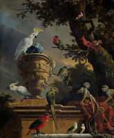 Oil painting beautiful singing birds Macaw parrots and monkeys in dusk landscape