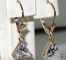14k y.gold U.S made lever back earrings,t.w 2.00ct 7x7mm trillion c,z, t.w 2.30g