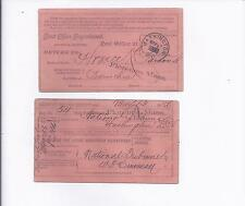 1886 P.O. REGISTRY RETURN RECEIPT TO WASH. D.C. PALE ORANGE