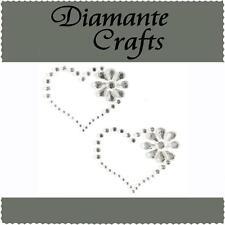 2 x 40mm Clear Diamante Heart & Flower Rhinestone Vajazzle Rhinestone Body Gems