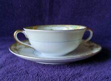 Noritake Gloria Flat Cream Soup Bowls & Saucers