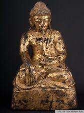 Burma 19. jh. Holz - A Jadeite lacquered & gilded wood figure of Buddha Bouddha